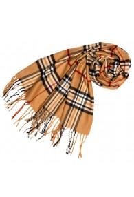 Schal für Damen Polyacryl braun camel schwarz LORENZO CANA