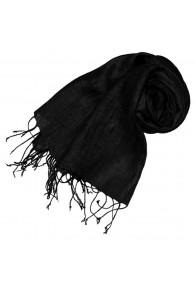 Damenschal 100% Leinen Unifarben schwarz anthrazit LORENZO CANA