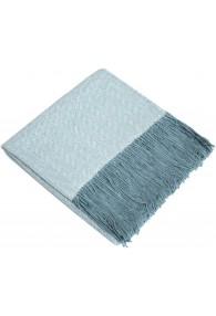 Wohndecke 100% Alpaka Fair Trade Blau Weiß Rautemuster LORENZO CANA
