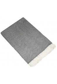Sofadecke 100% Kaschmir Grau Weiß Streifen LORENZO CANA