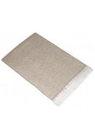 Sofadecke 100% Kaschmir Hellbraun Weiß Streifen LORENZO CANA