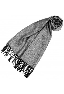 Damenschal 100% Alpaka Raute grau silber schwarz LORENZO CANA