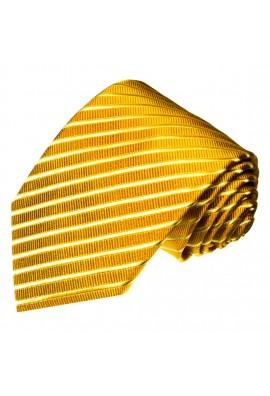 XL Herrenkrawatte 100% Seide Streifen gold gelb LORENZO CANA