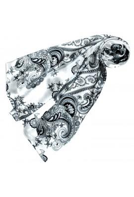 Tuch für Damen silber weiss schwarz Seide Floral LORENZO CANA