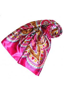Tuch für Damen rosa braun rot Seide Floral LORENZO CANA