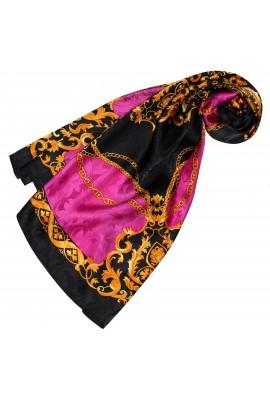 Tuch für Damen rosa schwarz gold Seide Floral LORENZO CANA