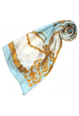 Tuch für Damen hellblau weiss gold Seide Floral LORENZO CANA