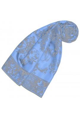 Schal aus Seide Blaue Blumen LORENZO CANA