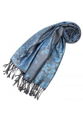 Halstuch 100% Modal Blau Schwarz Floral LORENZO CANA